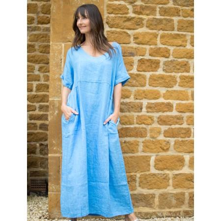 Amazing Woman  Tesa Maxi Linen Dress - Blue