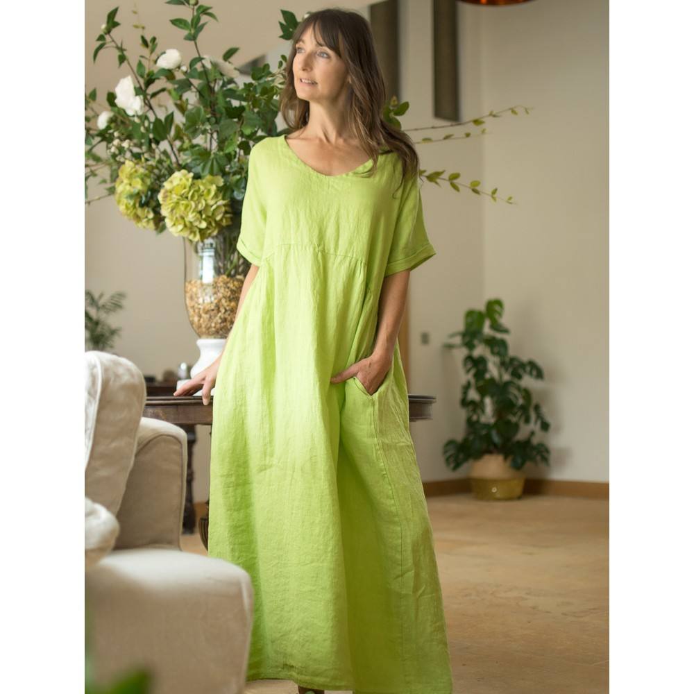 Amazing Woman Tesa Maxi Linen Dress Lime
