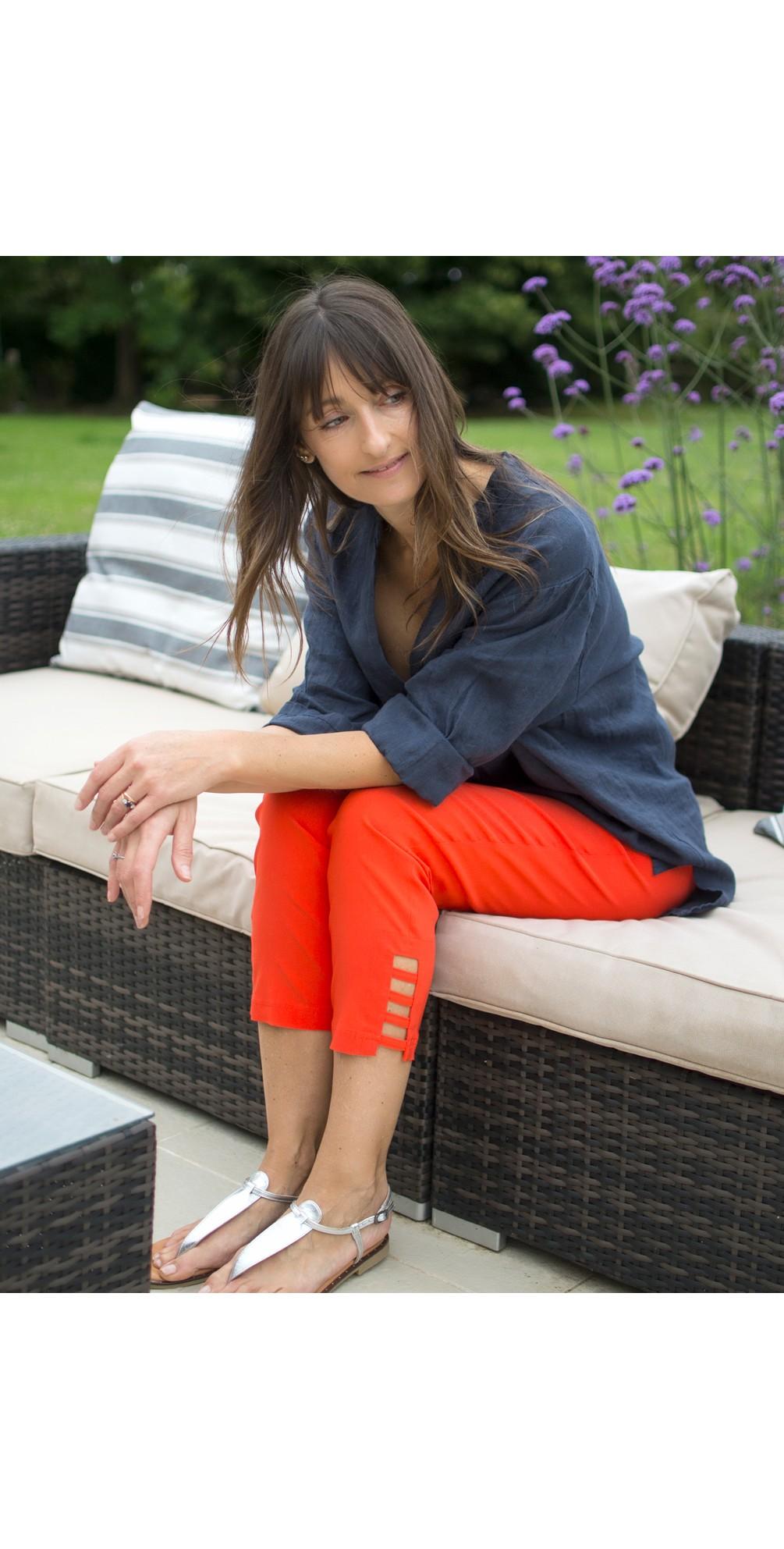 Lena Orange Ankle Detail Cropped Trouser main image