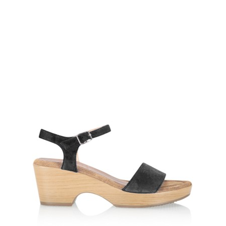 Gemini Label  Aneka Icon Suede Wedge Sandal - Black