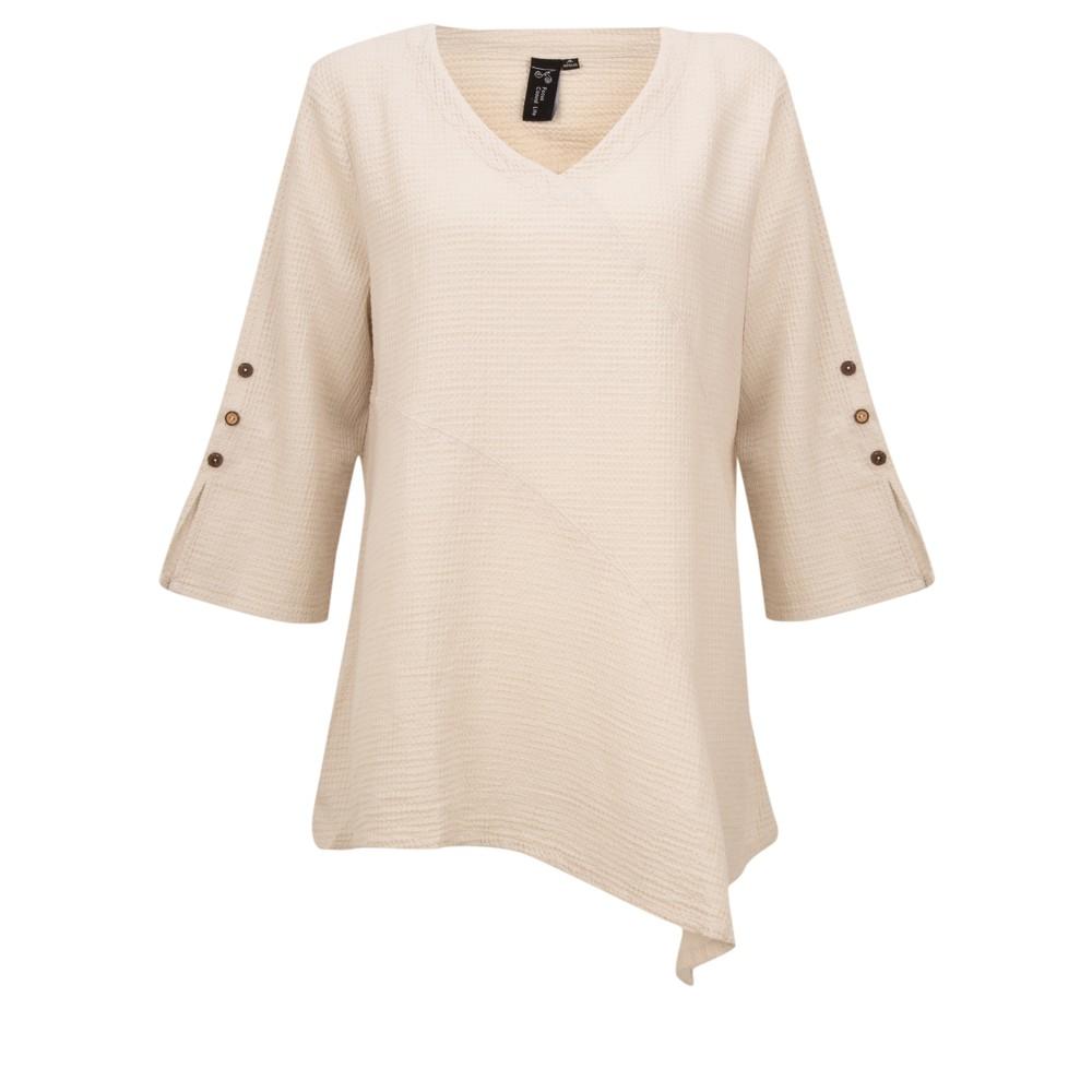 Focus Button Sleeve Tunic Oatmeal