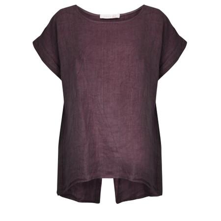 Amazing Woman  Melia Short Sleeve Linen Top - Purple