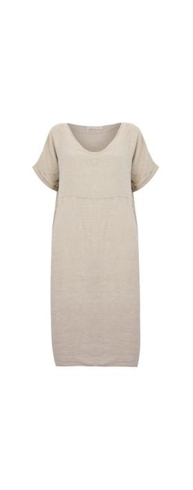 Amazing Woman Tesa Midi Natural Linen dress Natural