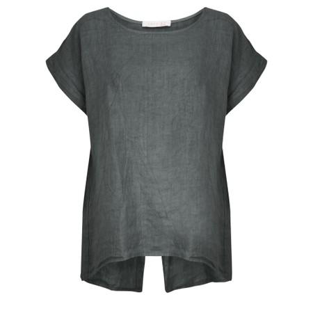 Amazing Woman  Melia Short Sleeve Linen Top - Black