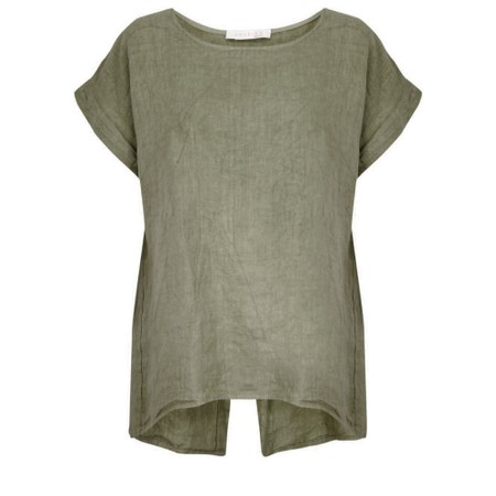 Amazing Woman  Melia Short Sleeve Linen Top - Beige