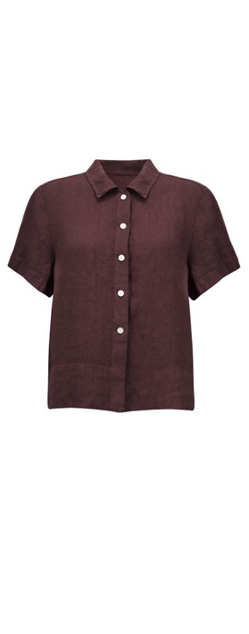 Amazing Woman Marilyn Boxy Linen Shirt Plum