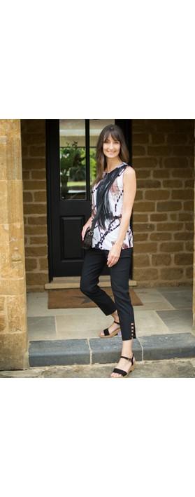 Robell Lena Black Ankle Detail Cropped Trouser Black
