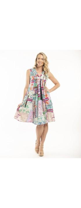 Orientique Pleated Dress Pink Multi Print