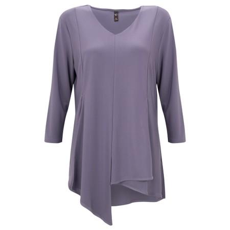 Focus Asymmetric 3/4 Sleeve Top  - Purple