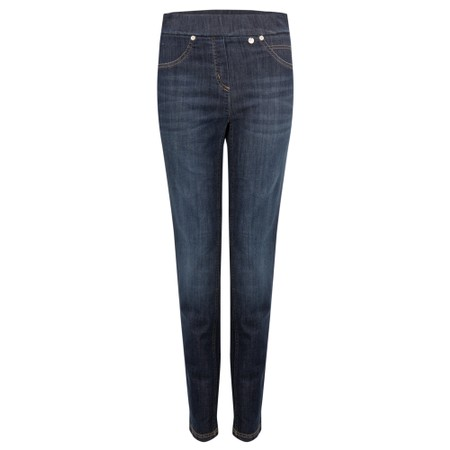 Robell Rose Slim Fit Washed Dark Denim Jean - Blue