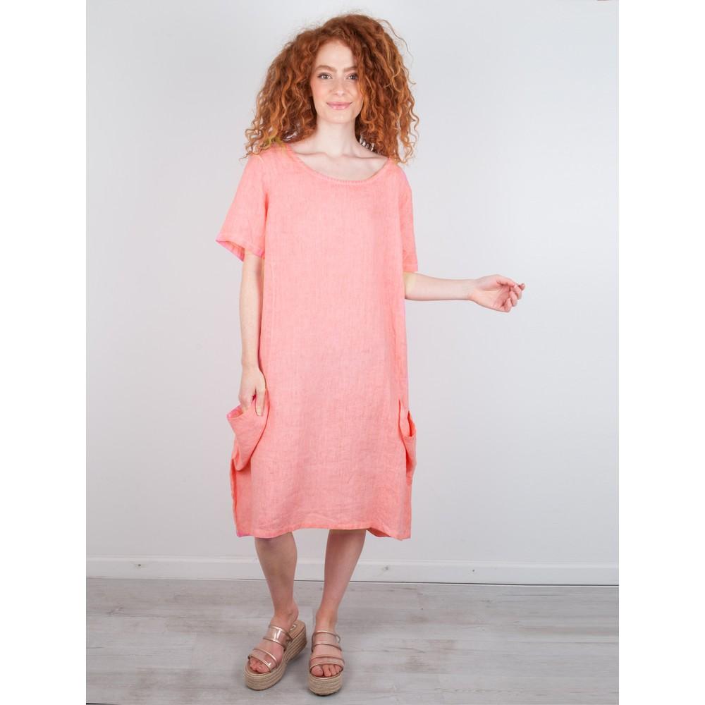 Focus Linen Pocket Dress Coral