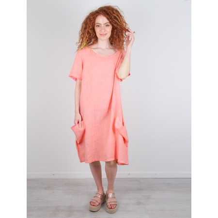 Focus Linen Pocket Dress - Orange