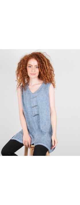 Focus Longline Linen Tunic Blue Stone