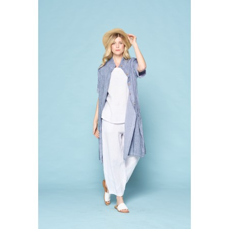 Focus Linen Shirt Dress - Blue