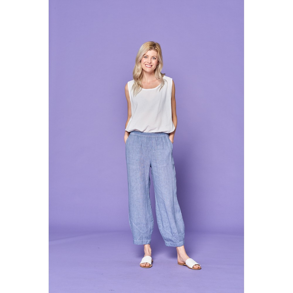 Focus Linen Trouser Blue Stone