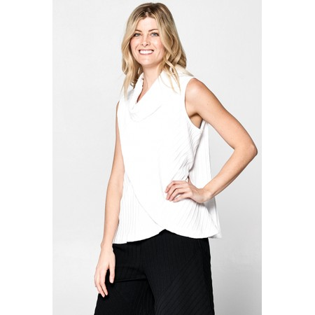 Focus Cowl Neck Sleeveless Top - White