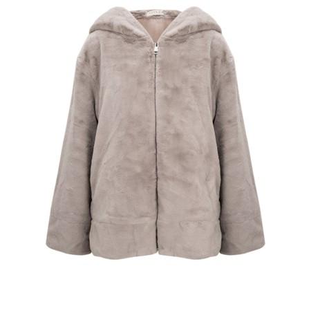 Jayley Faux Fur Oversized Hooded Jacket - Beige