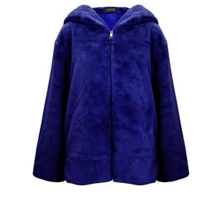 Jayley Faux Fur Oversized Hooded Jacket - Blue