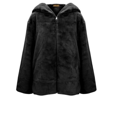 Jayley Faux Fur Oversized Hooded Jacket - Black
