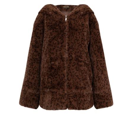 Jayley Faux Fur Oversized Hooded Jacket - Brown