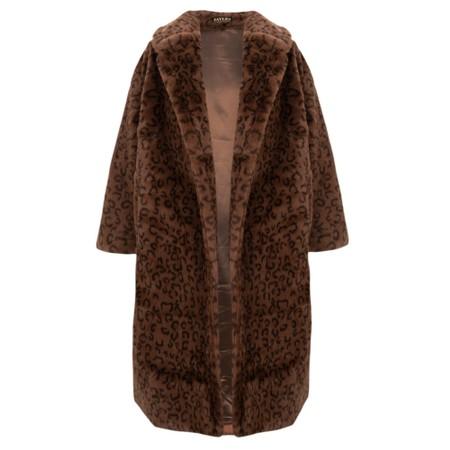 Jayley Long Faux Fur Shearling Coat - Brown