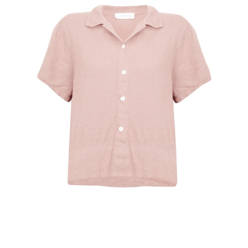 Amazing Woman Marilyn Boxy Linen Shirt Rose