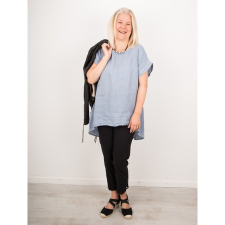 Amazing Woman  Melia Short Sleeve Linen Top - Blue