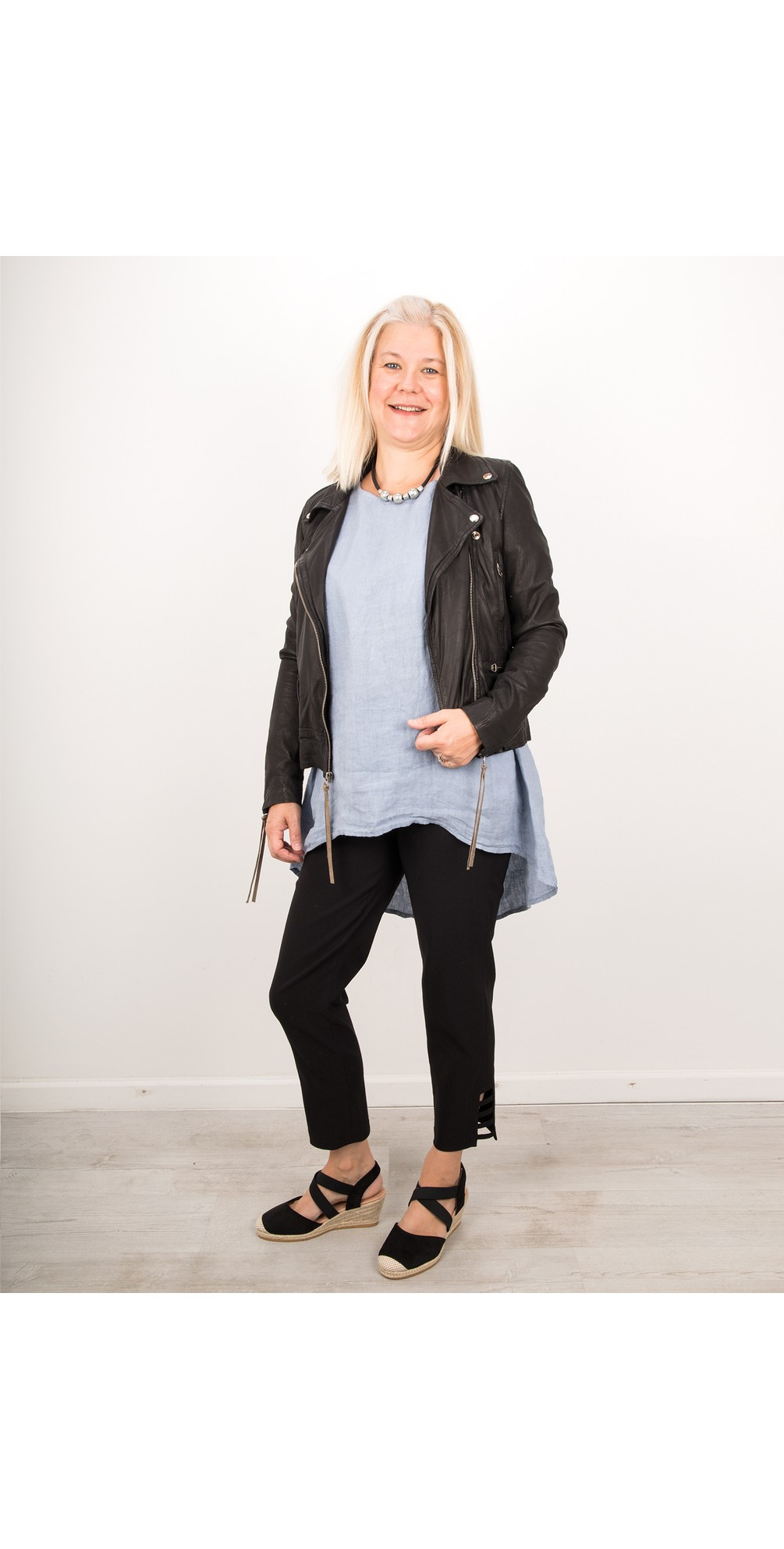 Lena Black Ankle Detail Cropped Trouser main image