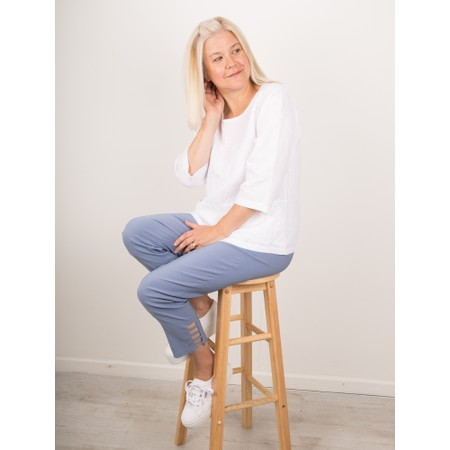 Thing Erin Linen Three Quarter Sleeve Two Pocket Top - White