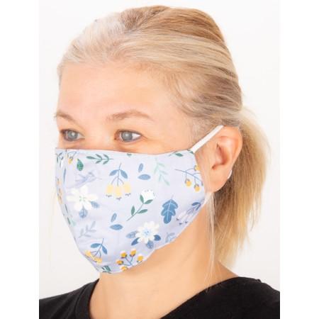 Jayley Floral Face mask  - Blue