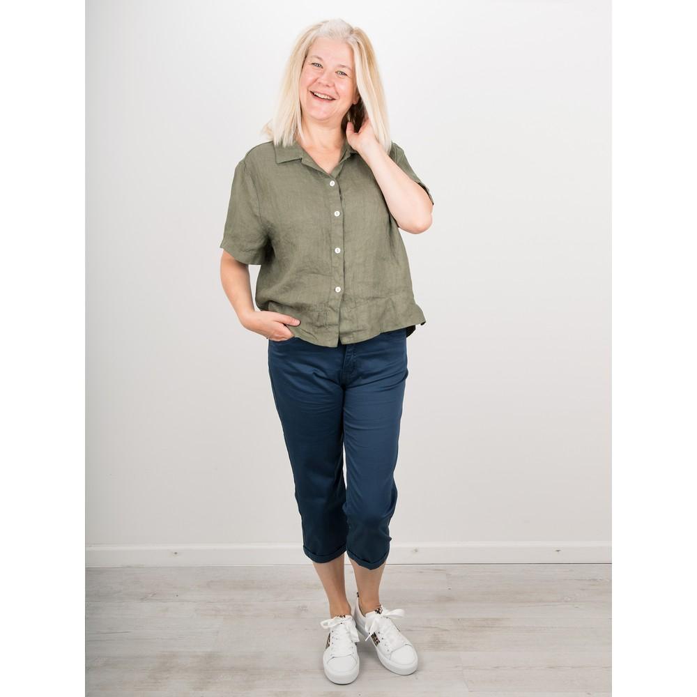 Amazing Woman Marilyn Boxy Linen Shirt Khaki