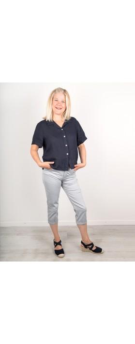Amazing Woman Marilyn Boxy Linen Shirt Navy