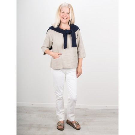 Thing Erin Linen Three Quarter Sleeve Two Pocket Top - Beige