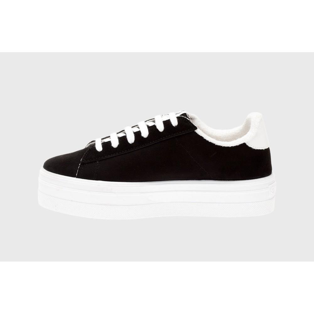 Victoria Shoes Barcelona Canvas Flatform Trainer Shoe Black 10