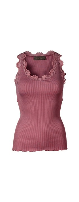 Rosemunde Babette Rib Silk Lace Trim Fitted Top 423-Deep Rose