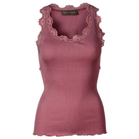 Rosemunde Babette Rib Silk Lace Trim Fitted Top - Pink