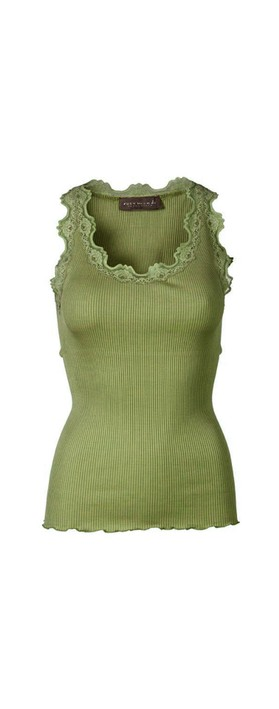 Rosemunde Babette Rib Silk Lace Trim Fitted Top 622-Leaf Green
