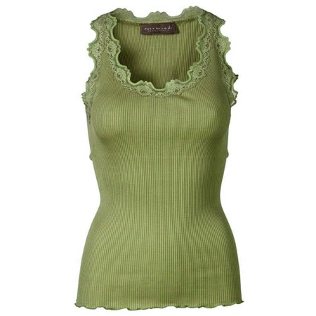 Rosemunde Babette Rib Silk Lace Trim Fitted Top - Green