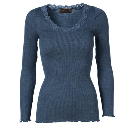 Rosemunde Babette Rib Silk and Lace Trim Fitted Long Sleeve Top - Blue