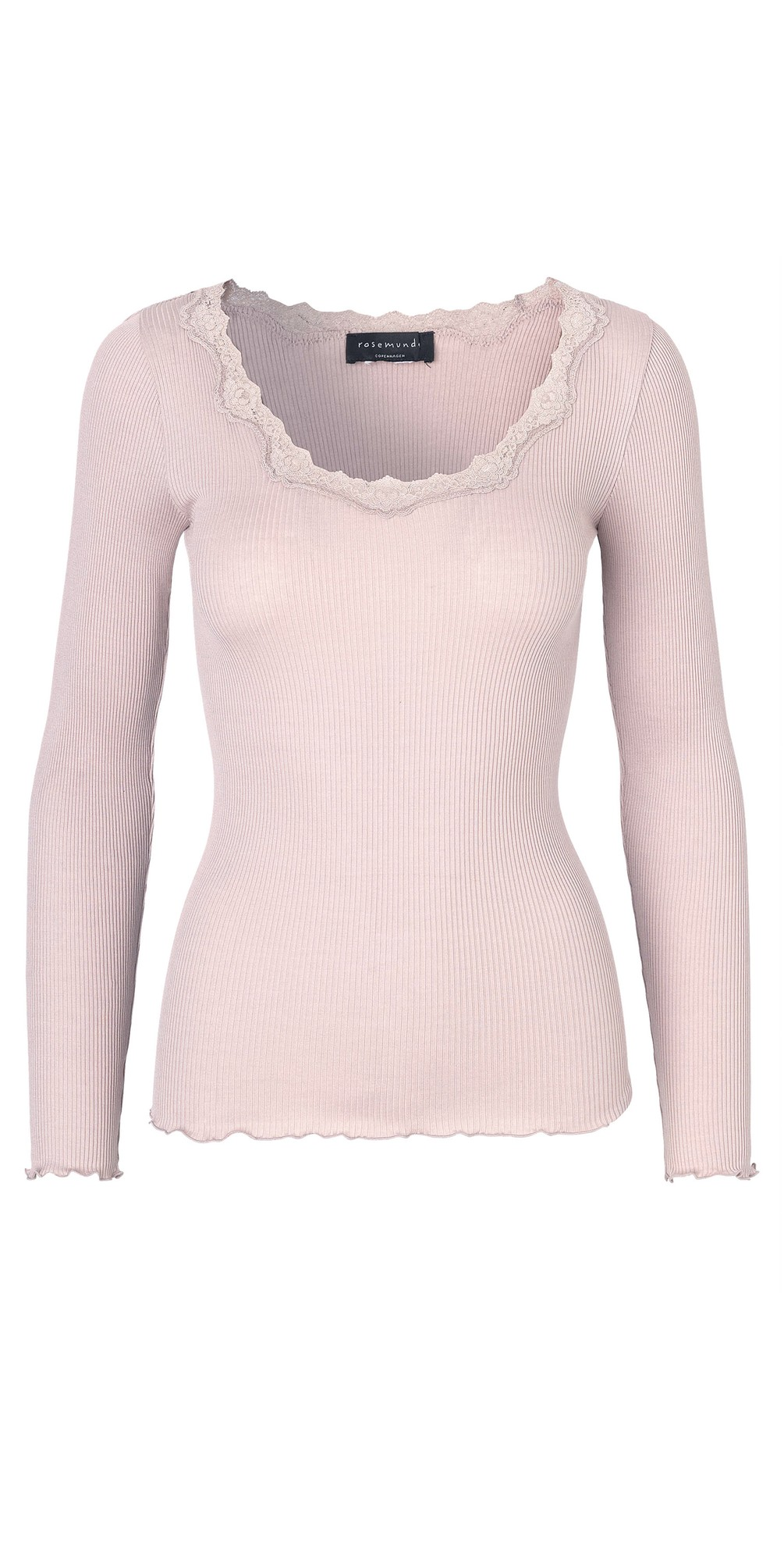 Babette Rib Silk and Lace Trim Fitted Long Sleeve Top main image