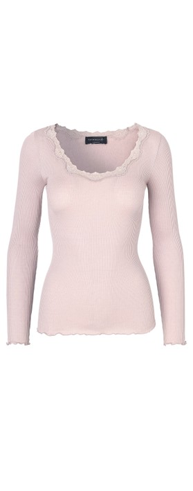 Rosemunde Babette Rib Silk and Lace Trim Fitted Long Sleeve Top 337-Soft Rose