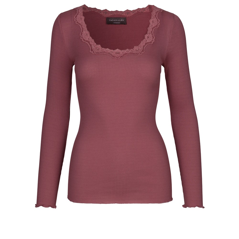 Rosemunde Babette Rib Silk and Lace Trim Fitted Long Sleeve Top 423-Deep Rose