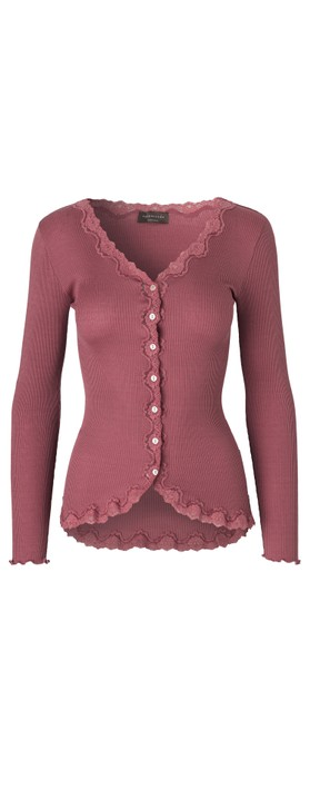 Rosemunde Babette Rib Silk and Lace Trim Fitted Cardigan 423-Deep Rose