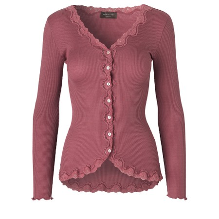 Rosemunde Babette Rib Silk and Lace Trim Fitted Cardigan - Pink