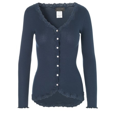 Rosemunde Babette Rib Silk and Lace Trim Fitted Cardigan - Blue