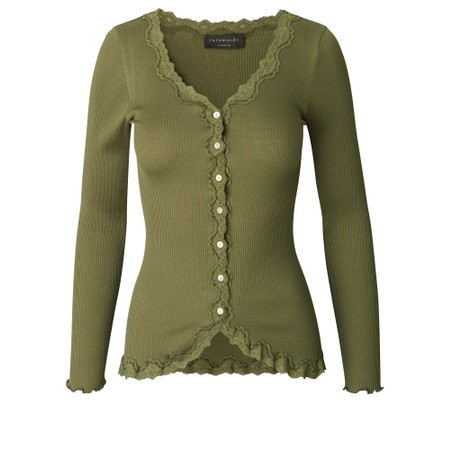 Rosemunde Babette Rib Silk and Lace Trim Fitted Cardigan - Green