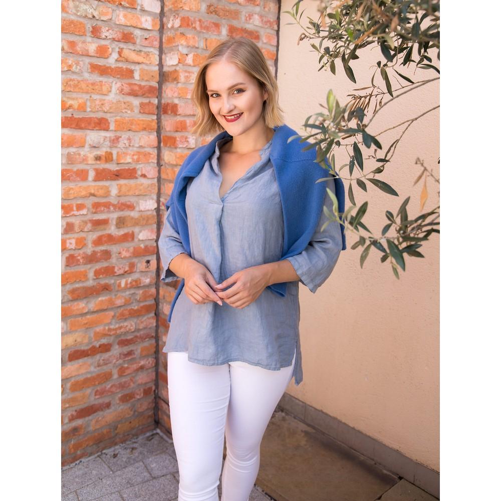 Amazing Woman Lydia Linen Top Denim Blue