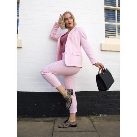 Rosemunde Babette Rib Silk Lace Trim Fitted Top - Pink
