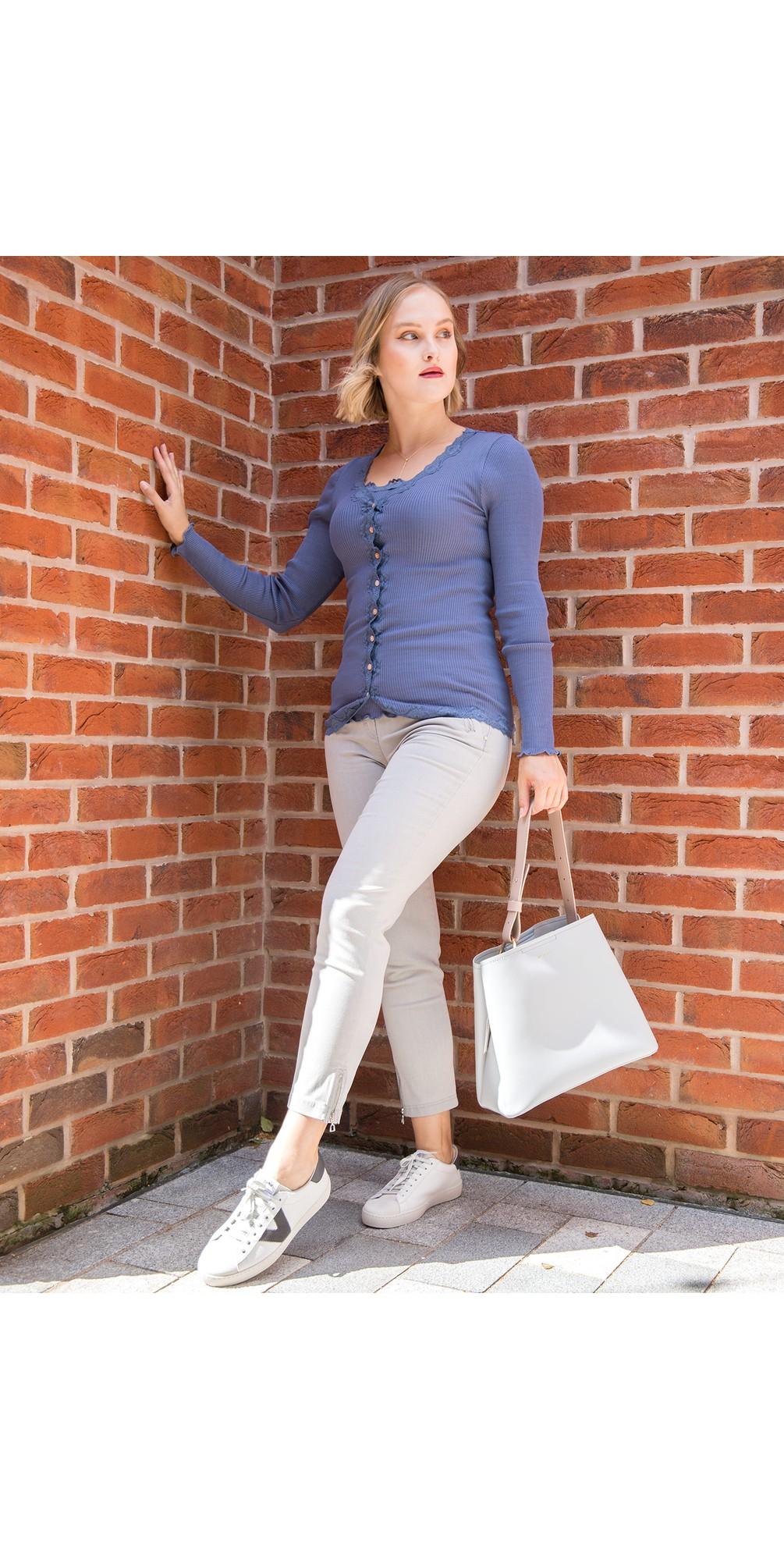Nena 09 Light Grey Ankle Zip Cropped Powerstretch Jean main image