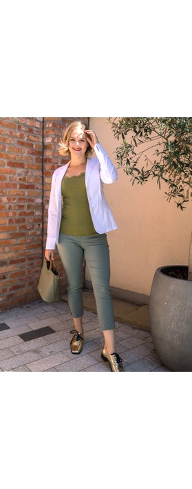 Robell Lena Khaki Ankle Detail Cropped Trouser Khaki 881